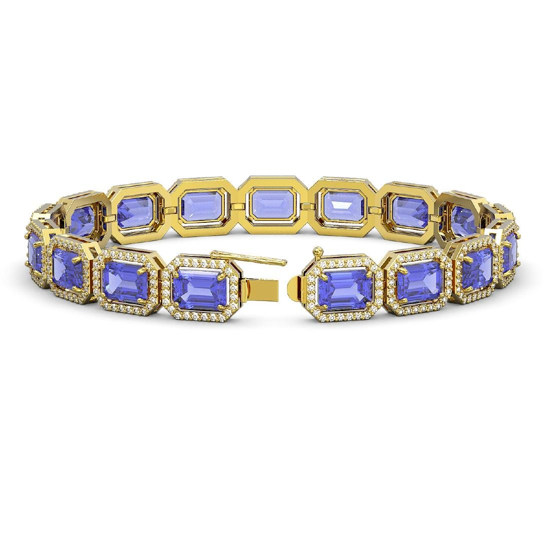 25.36 CTW Tanzanite & Diamond Halo Bracelet 10K Yellow - 2