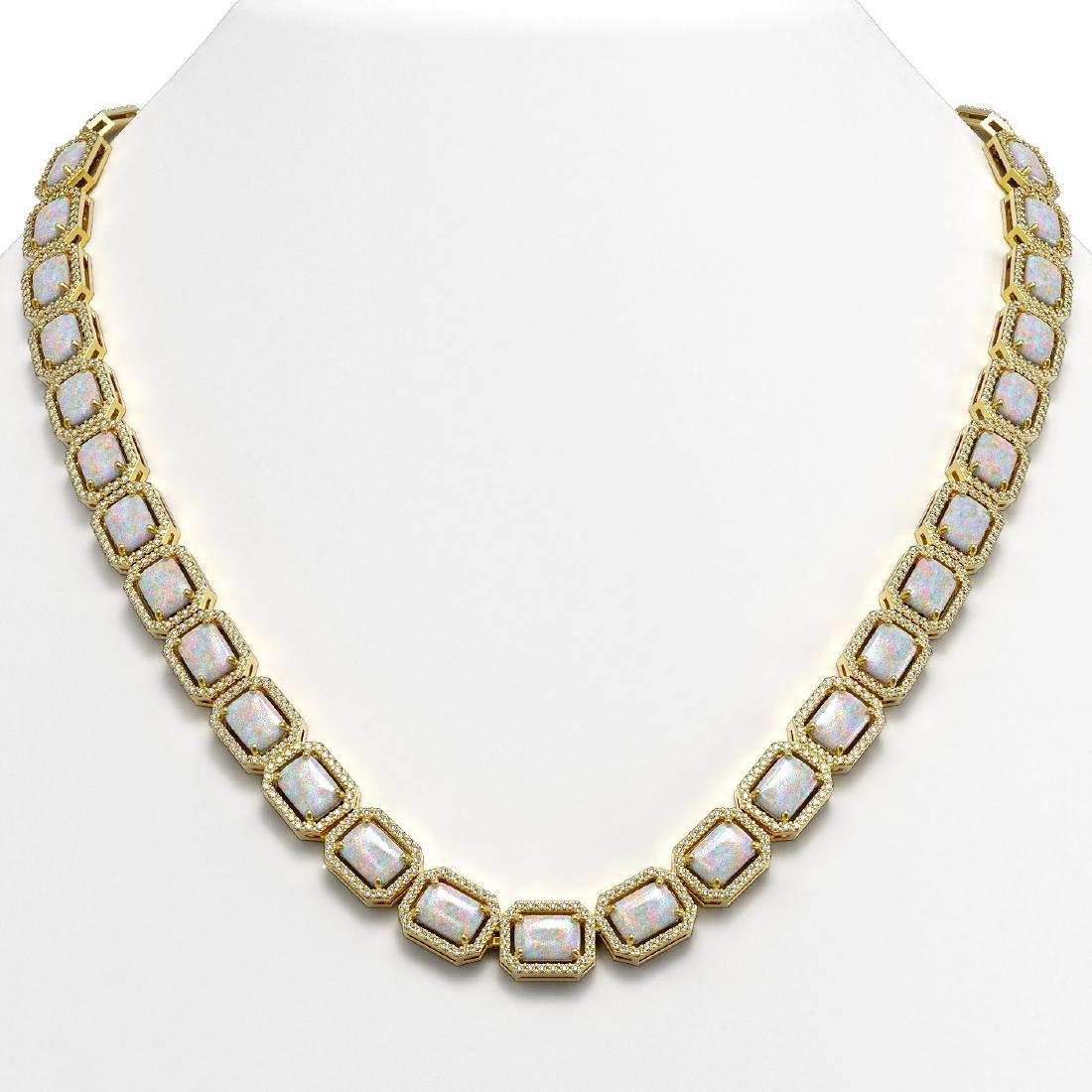 37.69 CTW Opal & Diamond Halo Necklace 10K Yellow Gold