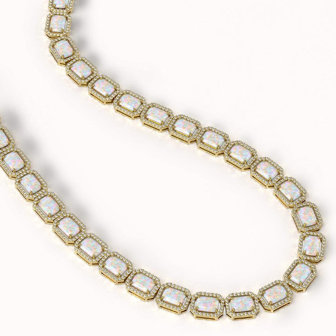 37.69 CTW Opal & Diamond Halo Necklace 10K Yellow Gold - 2