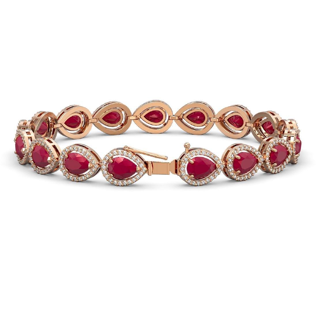21.69 CTW Ruby & Diamond Halo Bracelet 10K Rose Gold - 2