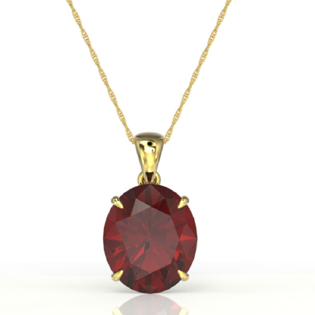 9 CTW Garnet Designer Solitaire Necklace 18K Yellow - 2