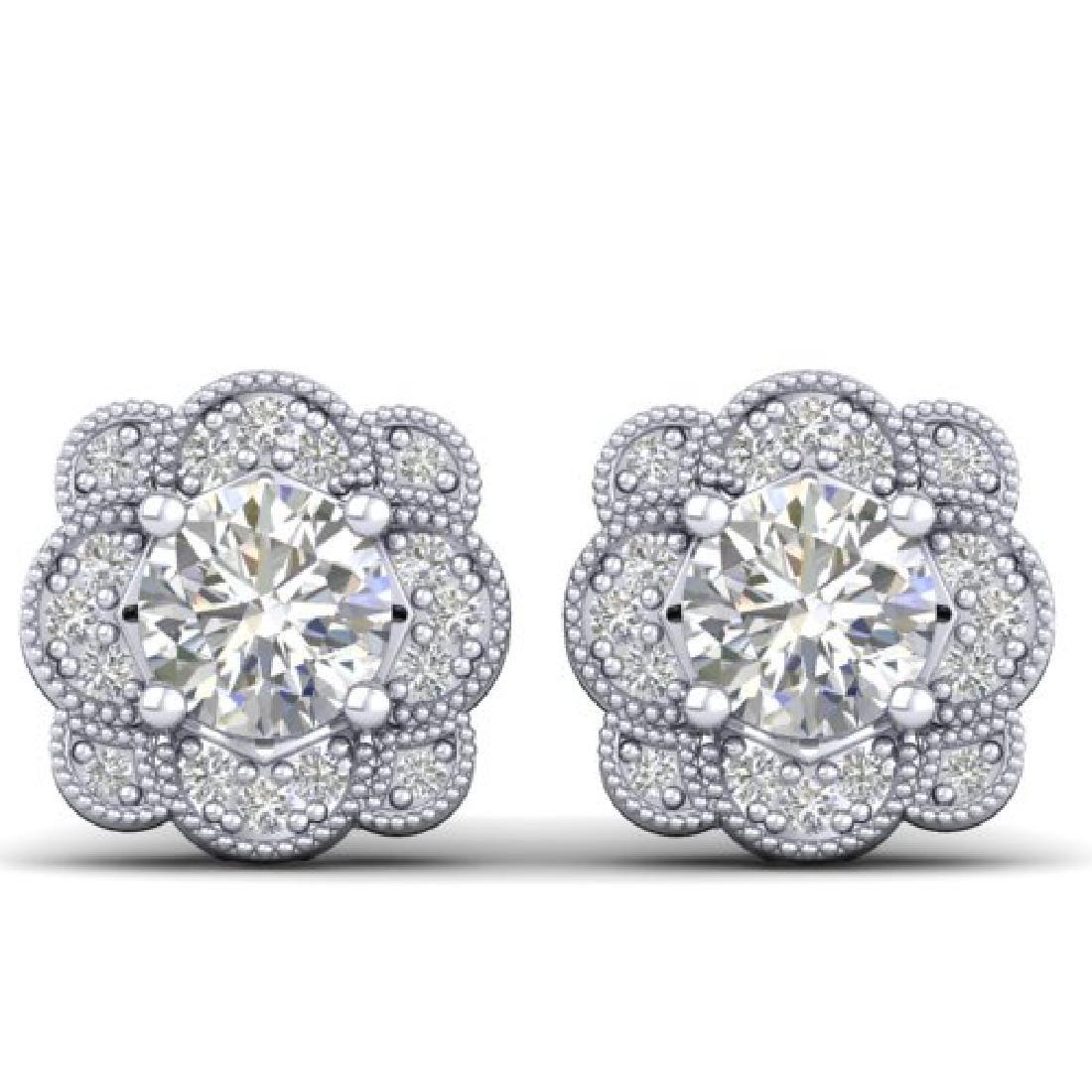 1.5 CTW Certified VS/SI Diamond Art Deco Stud Earrings