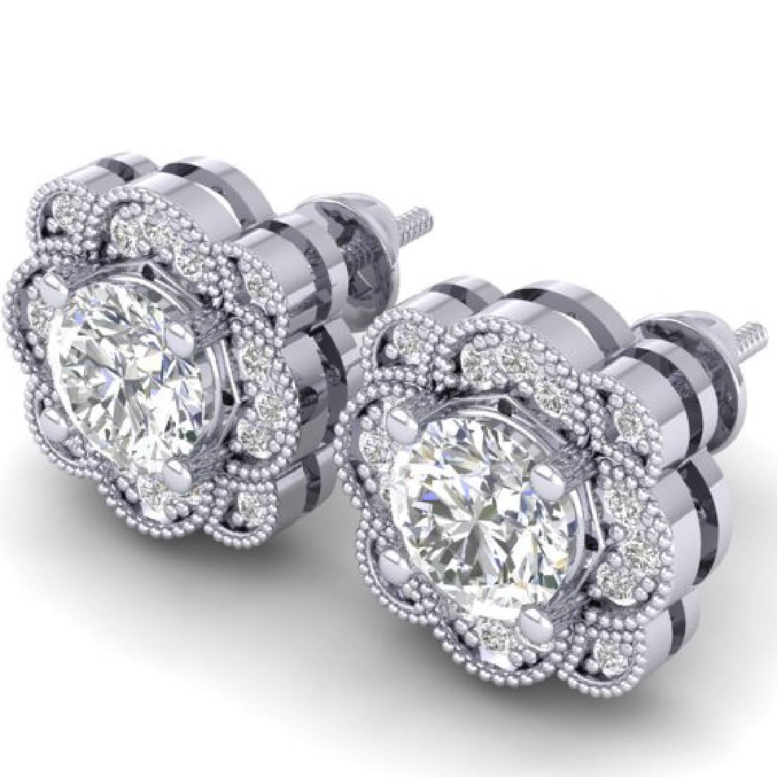 1.5 CTW Certified VS/SI Diamond Art Deco Stud Earrings - 2