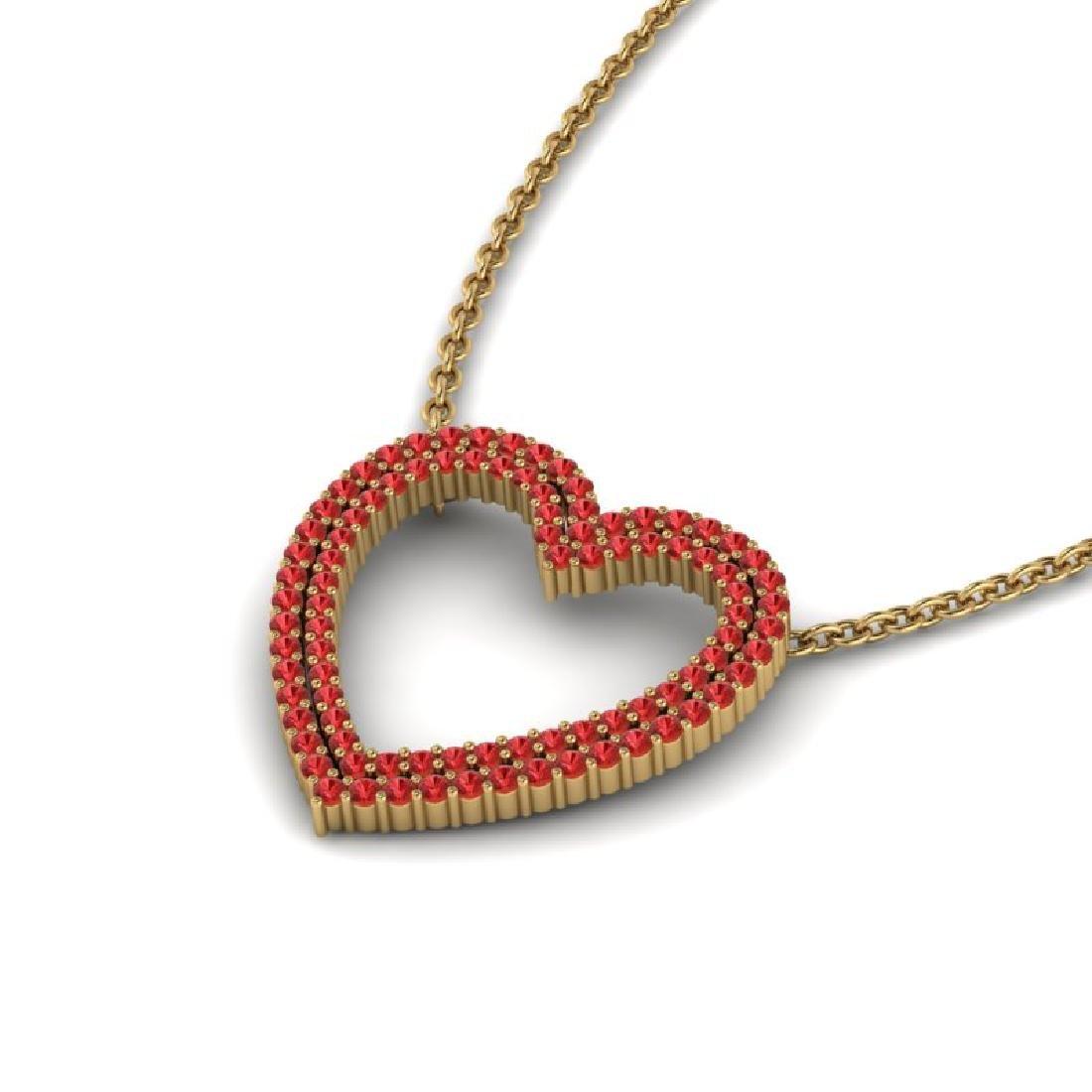 3.50 CTW Red Sapphire Heart Halo Designer Necklace 10K - 2