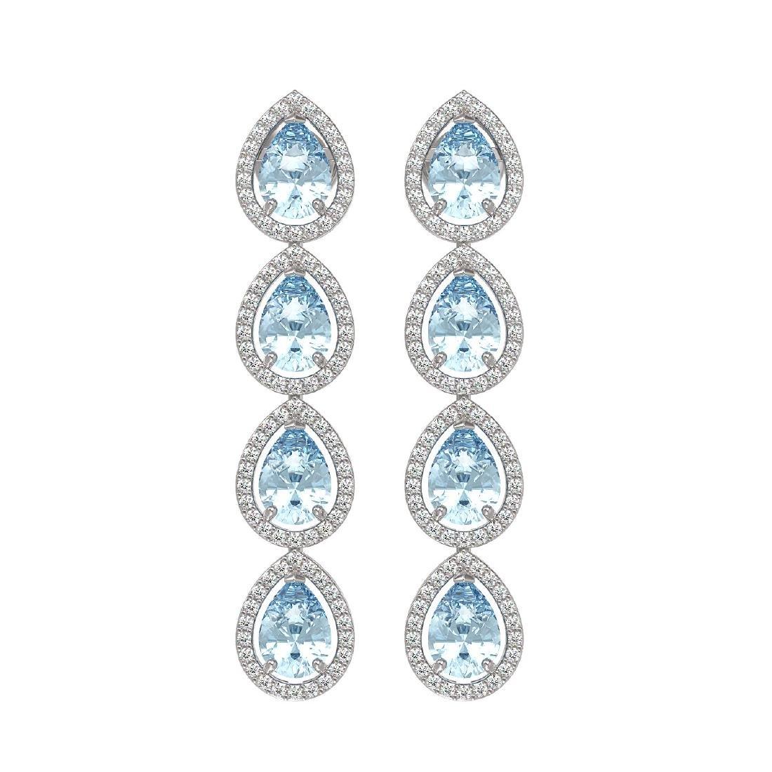 7.41 CTW Aquamarine & Diamond Halo Earrings 10K White