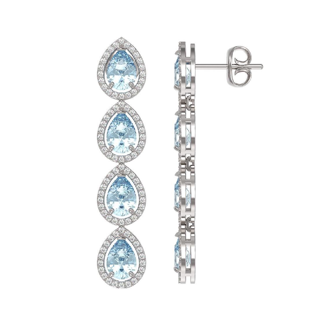 7.41 CTW Aquamarine & Diamond Halo Earrings 10K White - 2