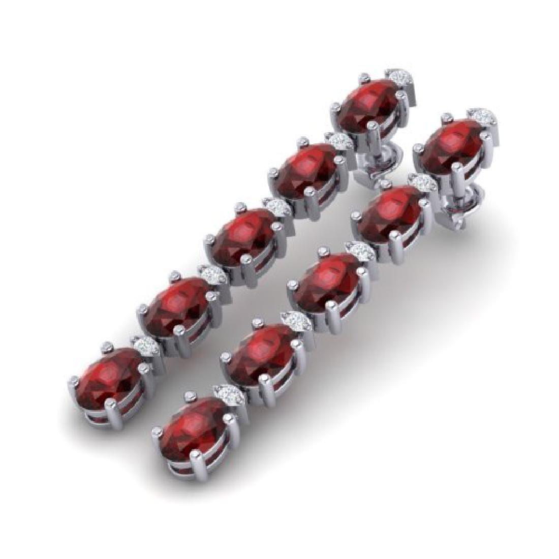 6 CTW Garnet & VS/SI Diamond Tennis Earrings 10K White
