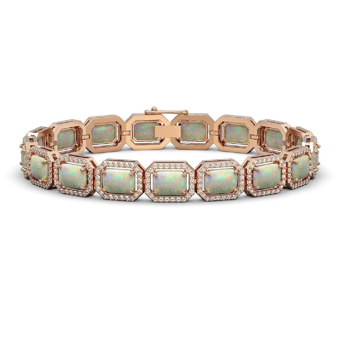 16.86 CTW Opal & Diamond Halo Bracelet 10K Rose Gold