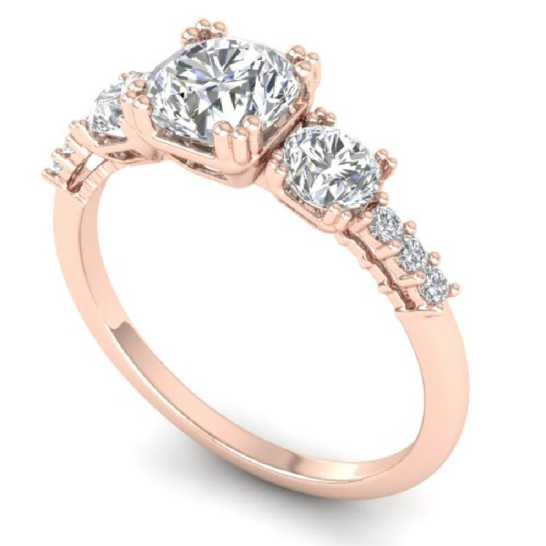 1.5 CTW Certified VS/SI Diamond Art Deco 3 Stone Ring - 2