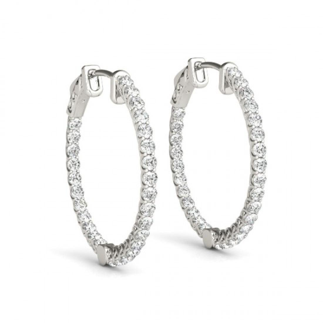 4 CTW Diamond VS/SI Certified 38 Mm Hoop Earrings 14K - 2