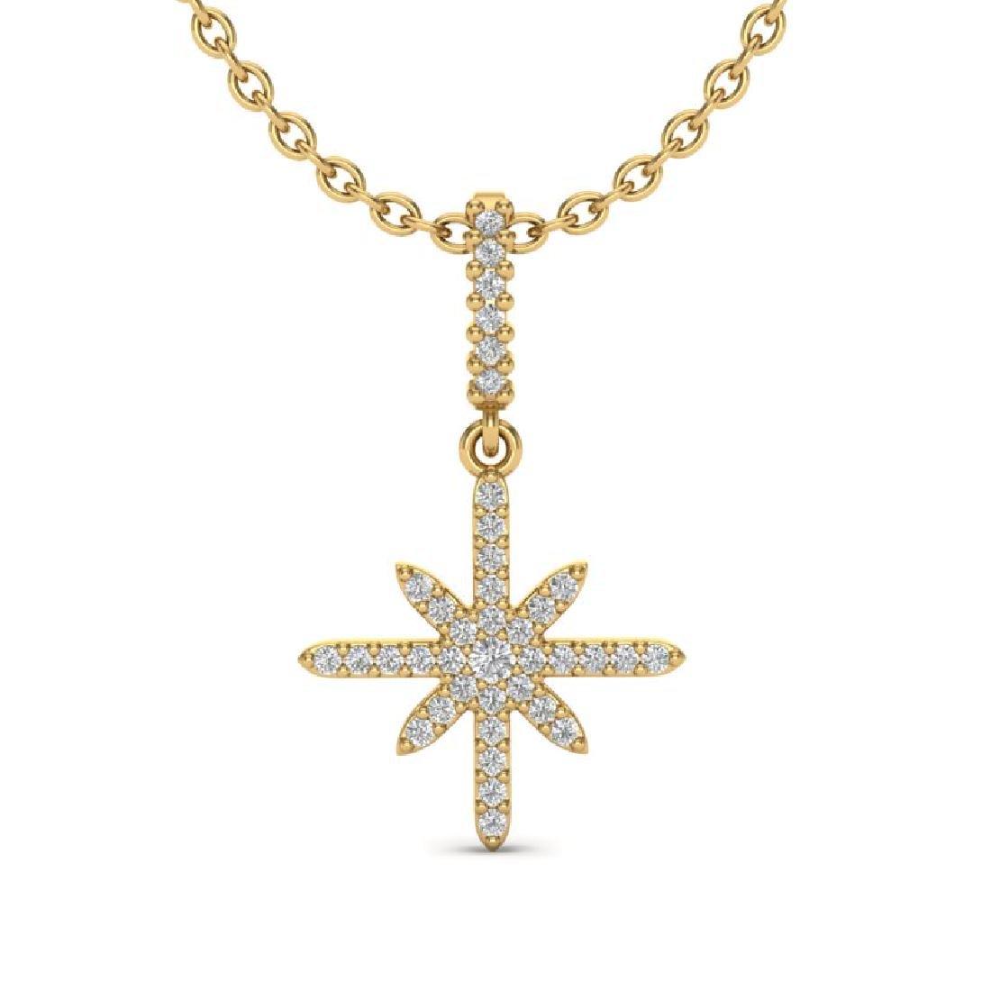 0.38 CTW Micro Pave VS/SI Diamond Necklace 18K Yellow