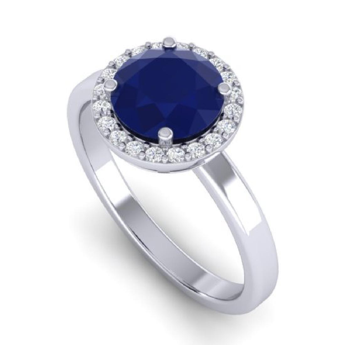 2 CTW Sapphire & Halo VS/SI Diamond Micro Pave Ring 18K - 2