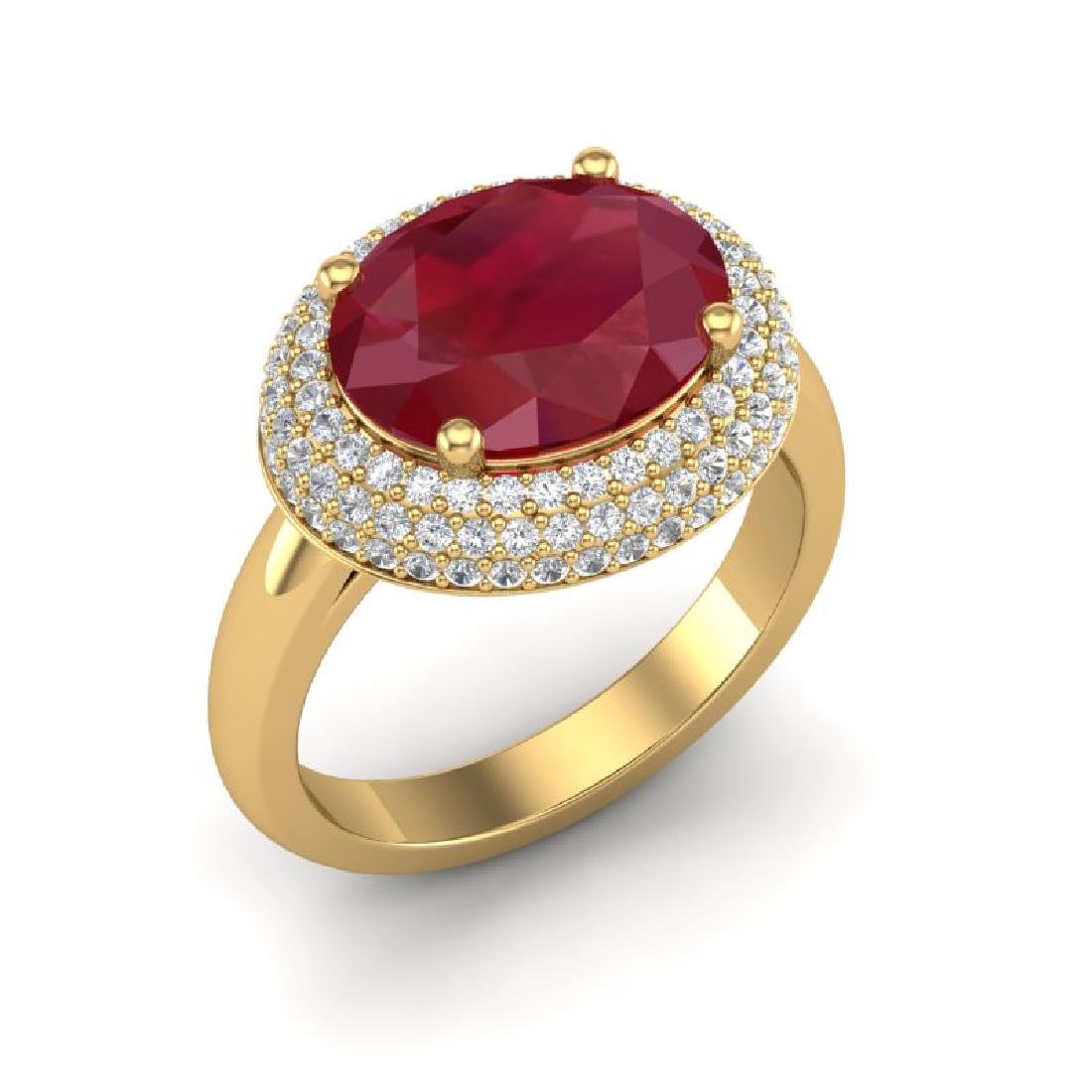 4.50 CTW Ruby & Micro Pave VS/SI Diamond Ring 18K