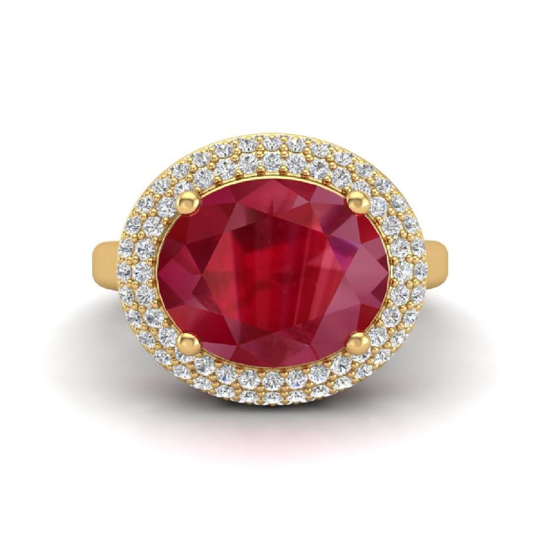 4.50 CTW Ruby & Micro Pave VS/SI Diamond Ring 18K - 2