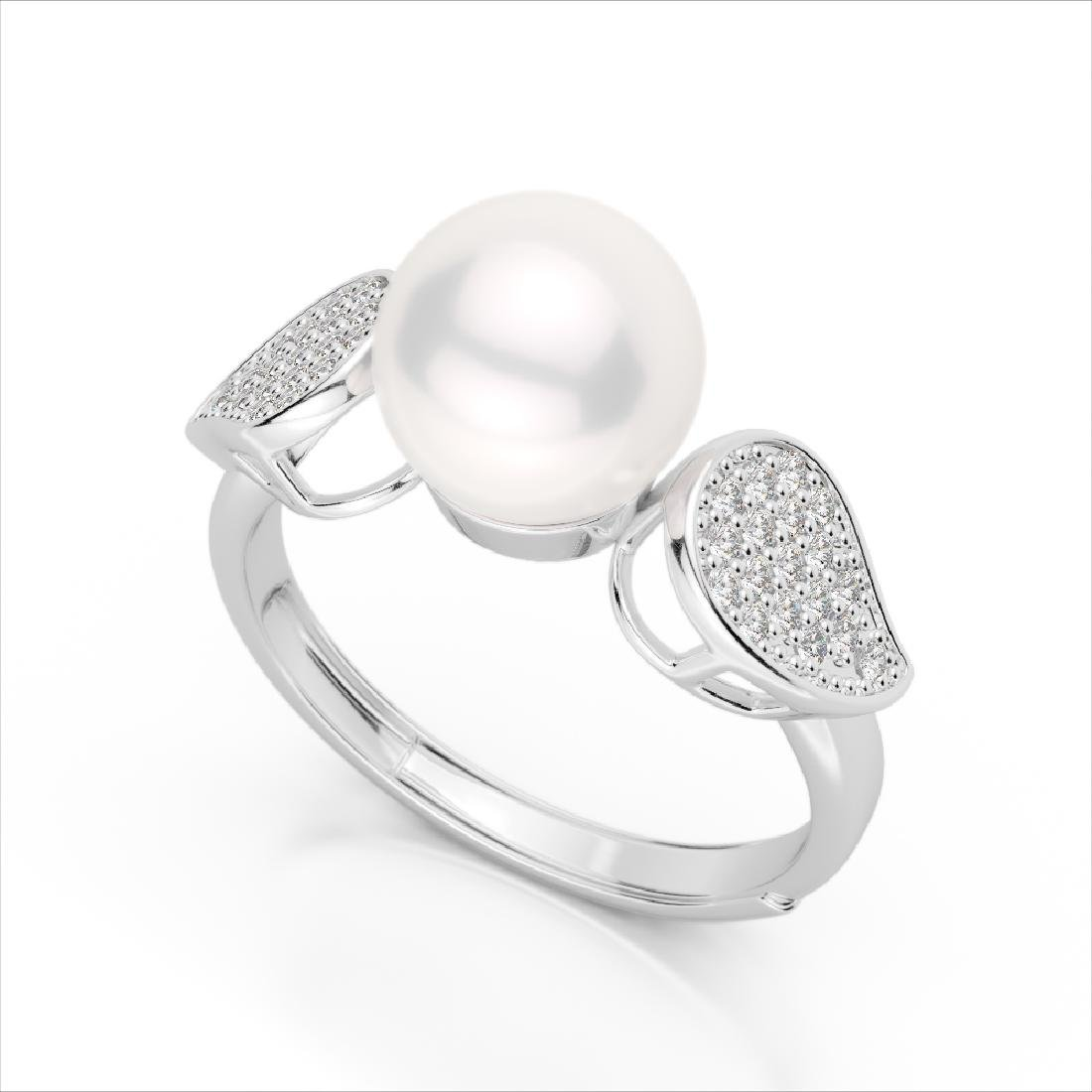 0.27 CTW Micro Pave VS/SI Diamond & Pearl Designer Ring - 2