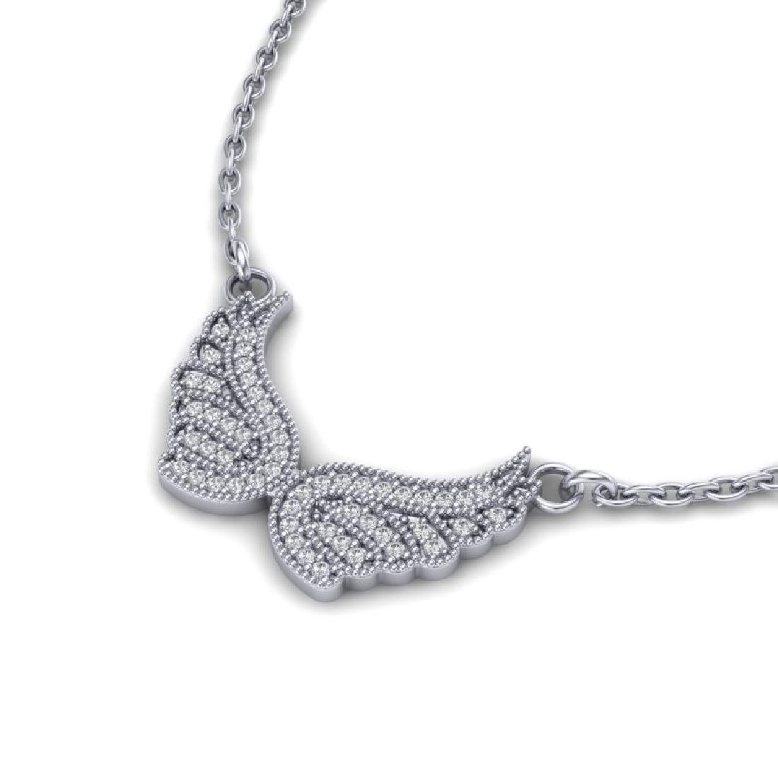 0.40 CTW Micro Pave VS/SI Diamond Angel Wing Necklace - 2