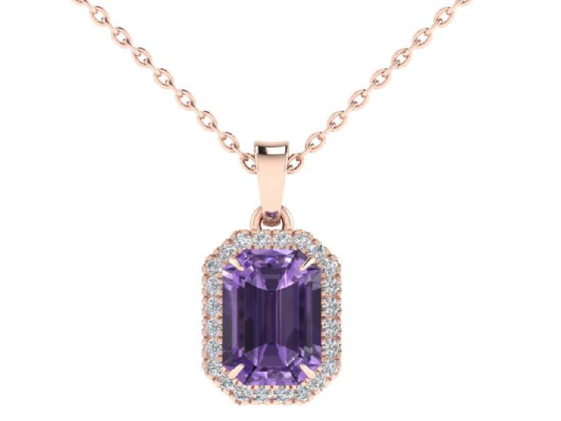 5 CTW Amethyst & Micro Pave VS/SI Diamond Halo Necklace - 2