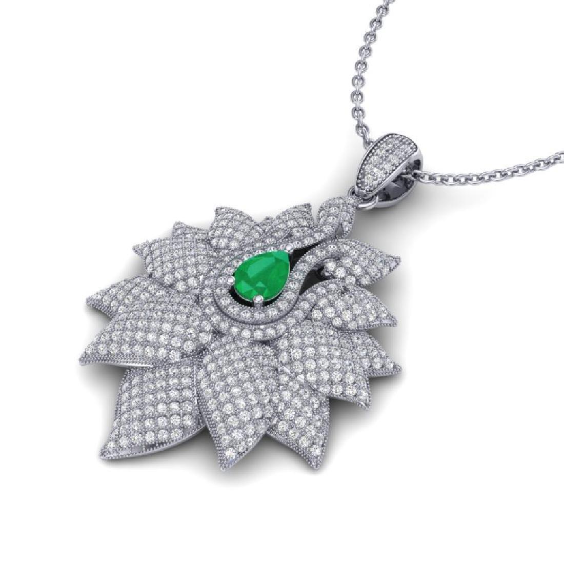 3 CTW Emerald & Micro VS/SI Diamond Designer Necklace