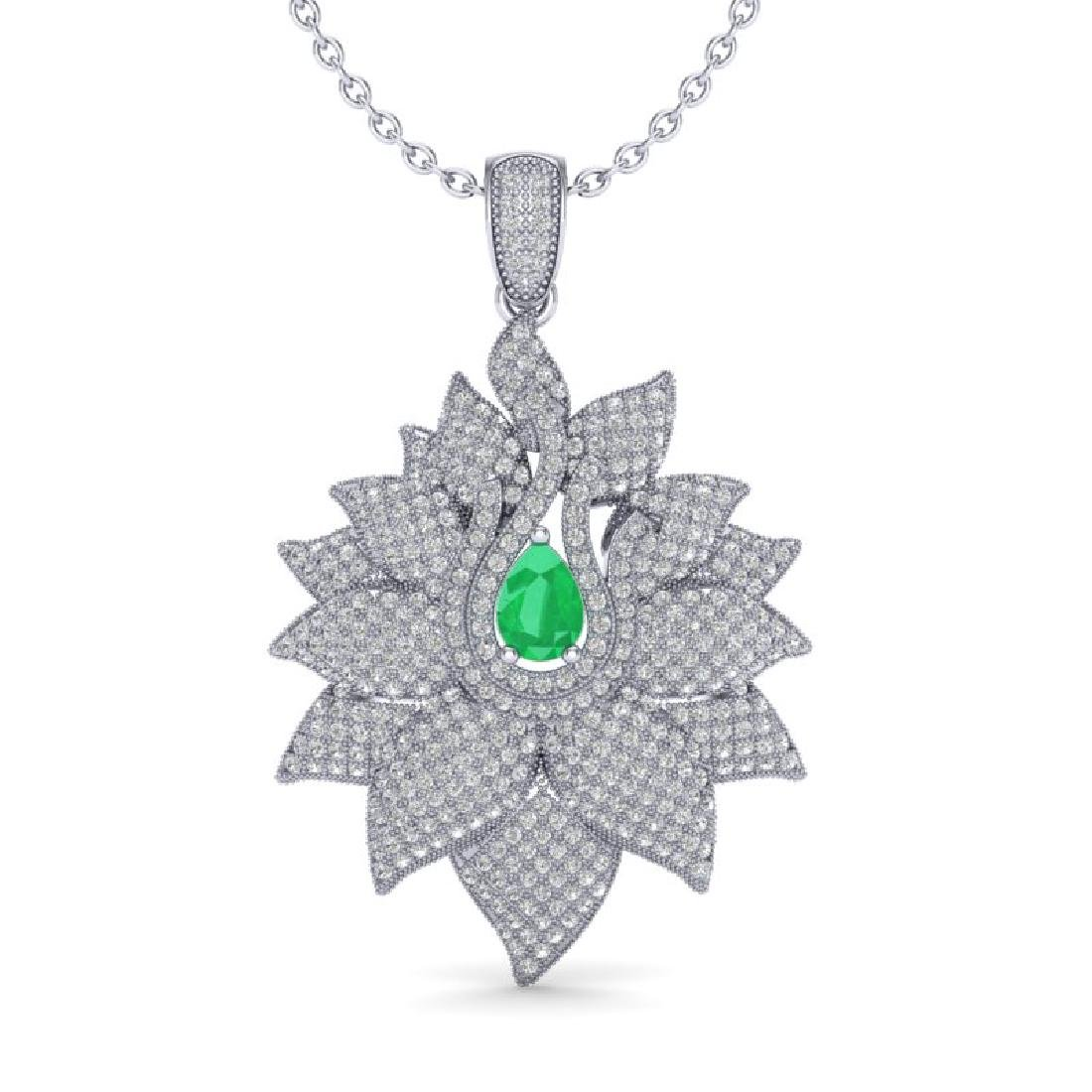 3 CTW Emerald & Micro VS/SI Diamond Designer Necklace - 2
