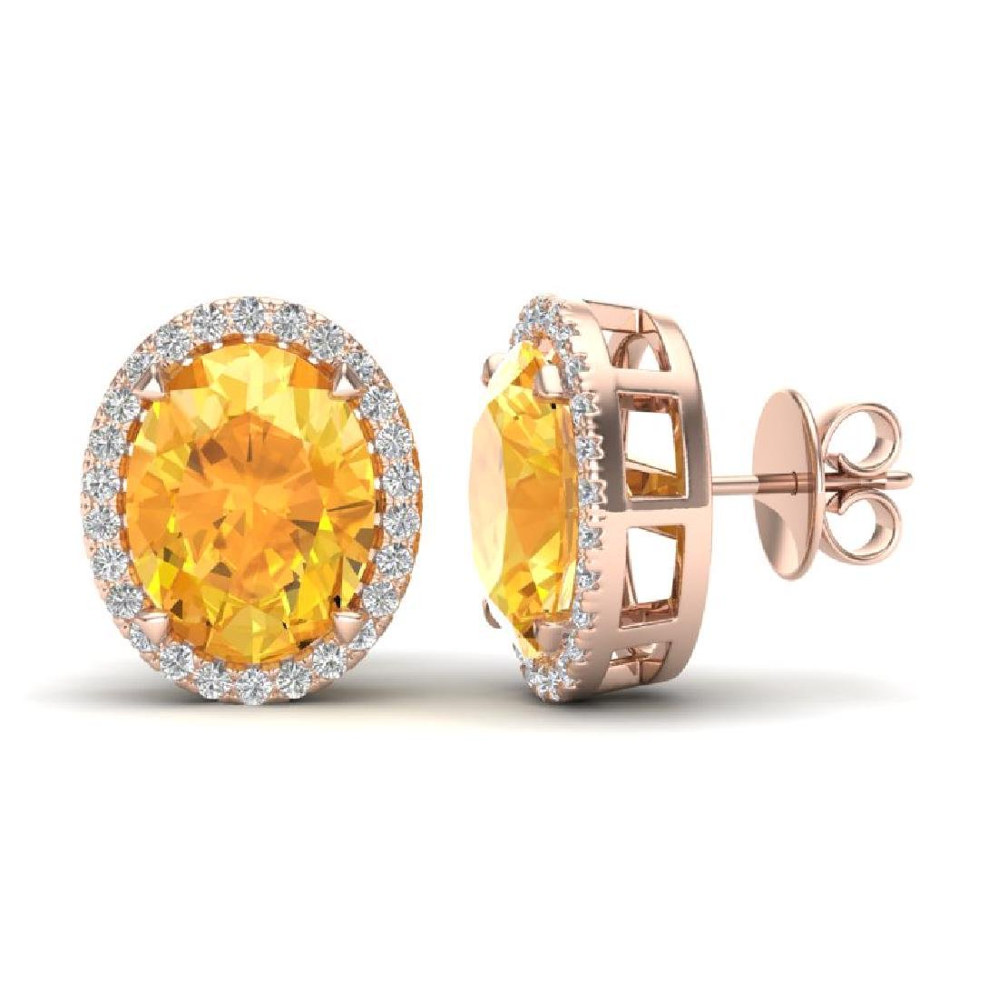 5.50 CTW Citrine & Micro VS/SI Diamond Halo Earrings - 2
