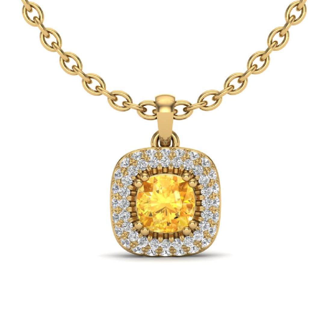 1.08 CTW Citrine & Micro VS/SI Diamond Necklace Halo