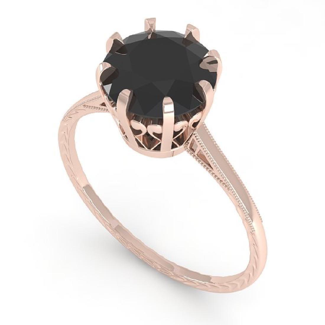 2.0 CTW Black Diamond Solitaire 14K Rose Gold - 2