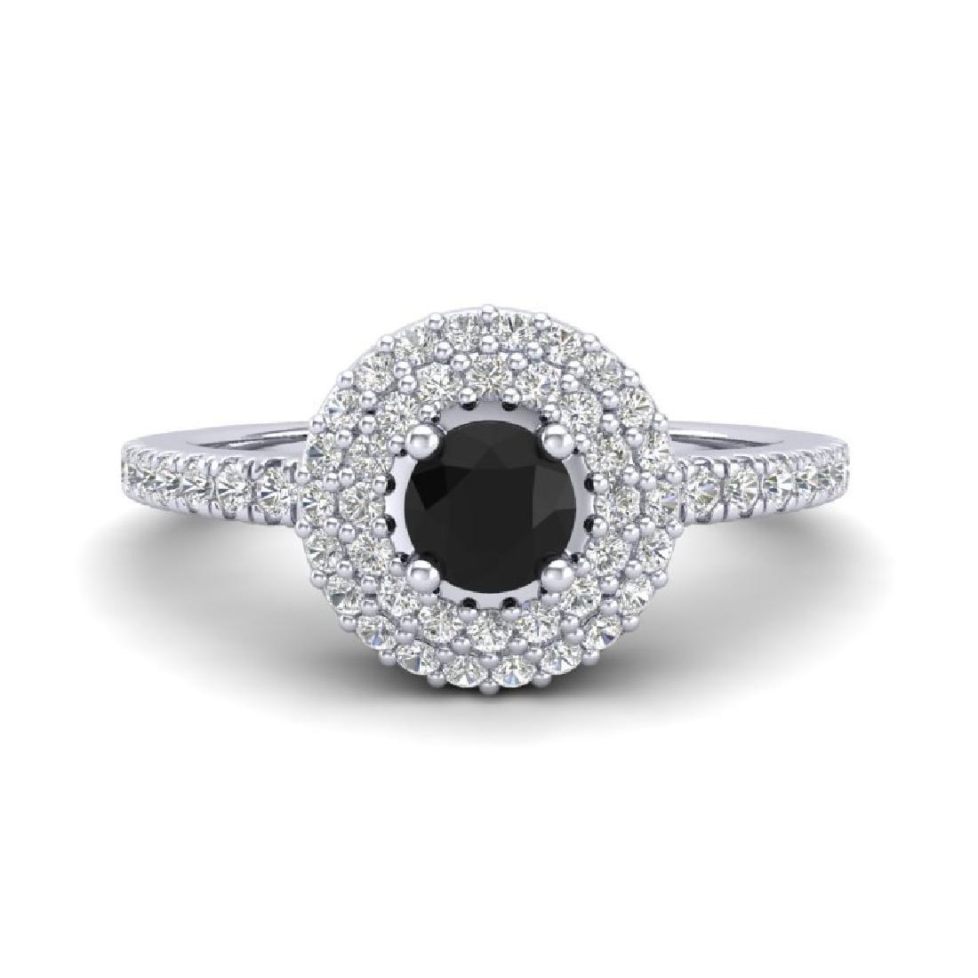 0.80 CTW Micro VS/SI Diamond Designer Ring 18K White