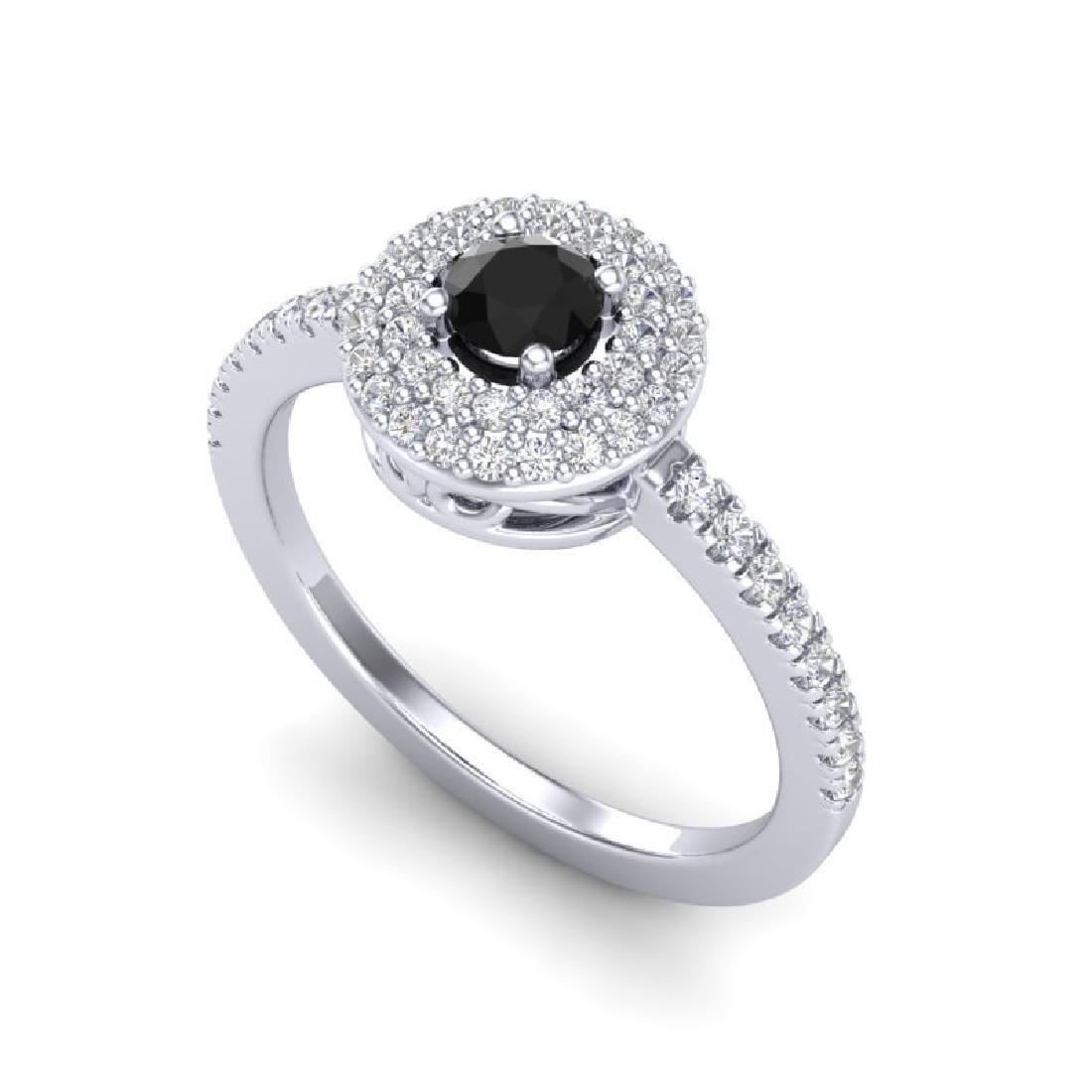 0.80 CTW Micro VS/SI Diamond Designer Ring 18K White - 2