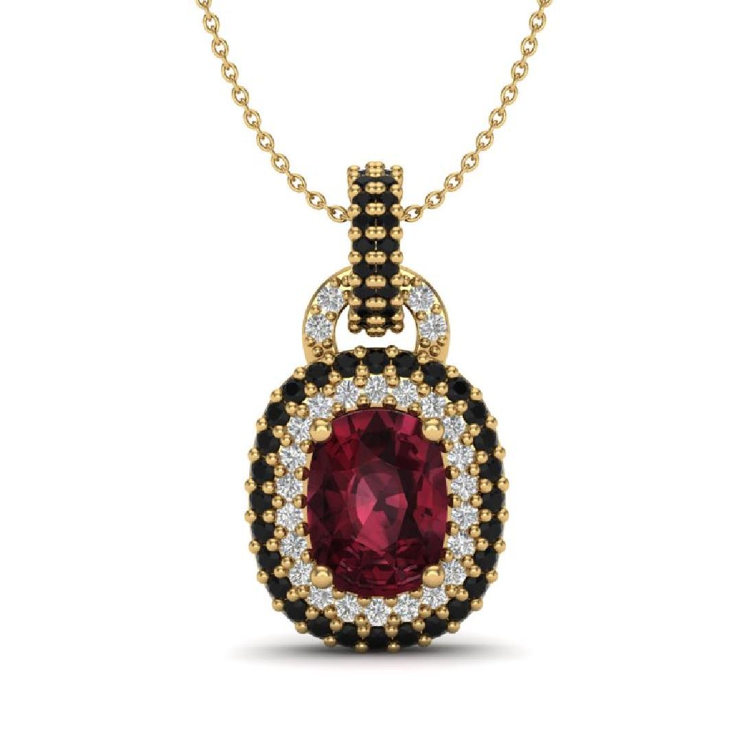 2.50 CTW Garnet With Black Micro VS/SI Diamond Necklace
