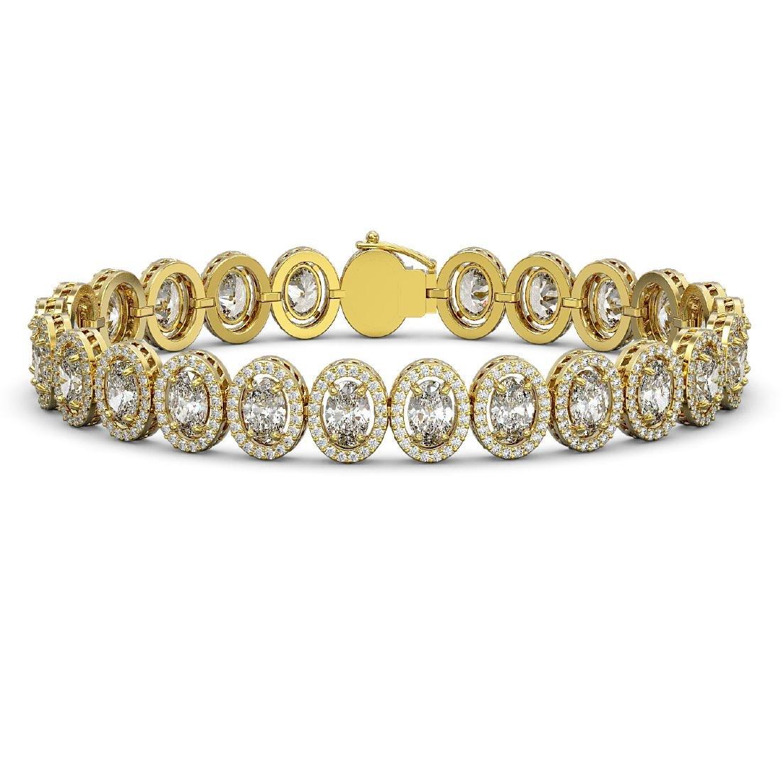 15.8 CTW Oval Diamond Designer Bracelet 18K Yellow Gold