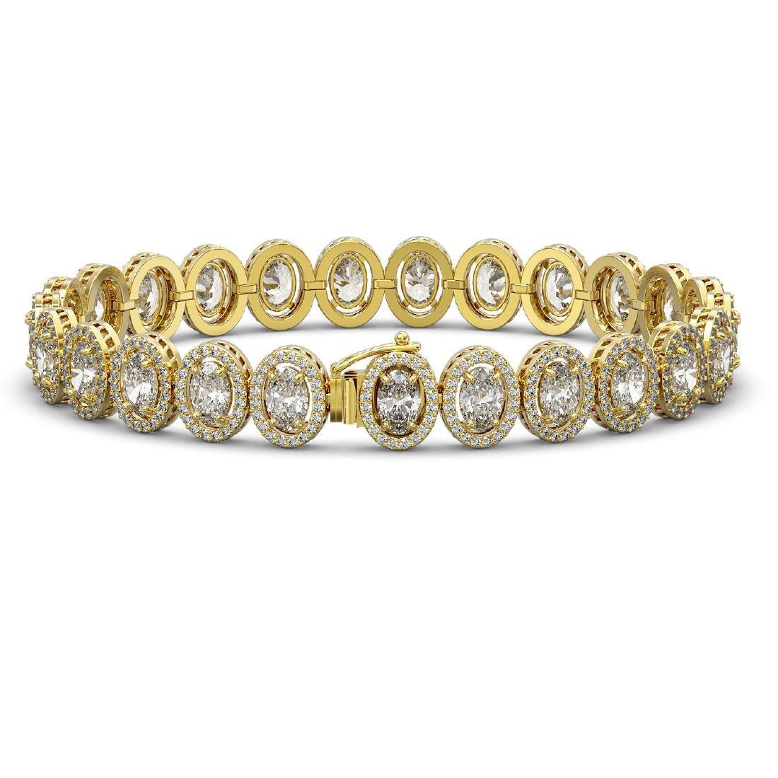 15.8 CTW Oval Diamond Designer Bracelet 18K Yellow Gold - 2