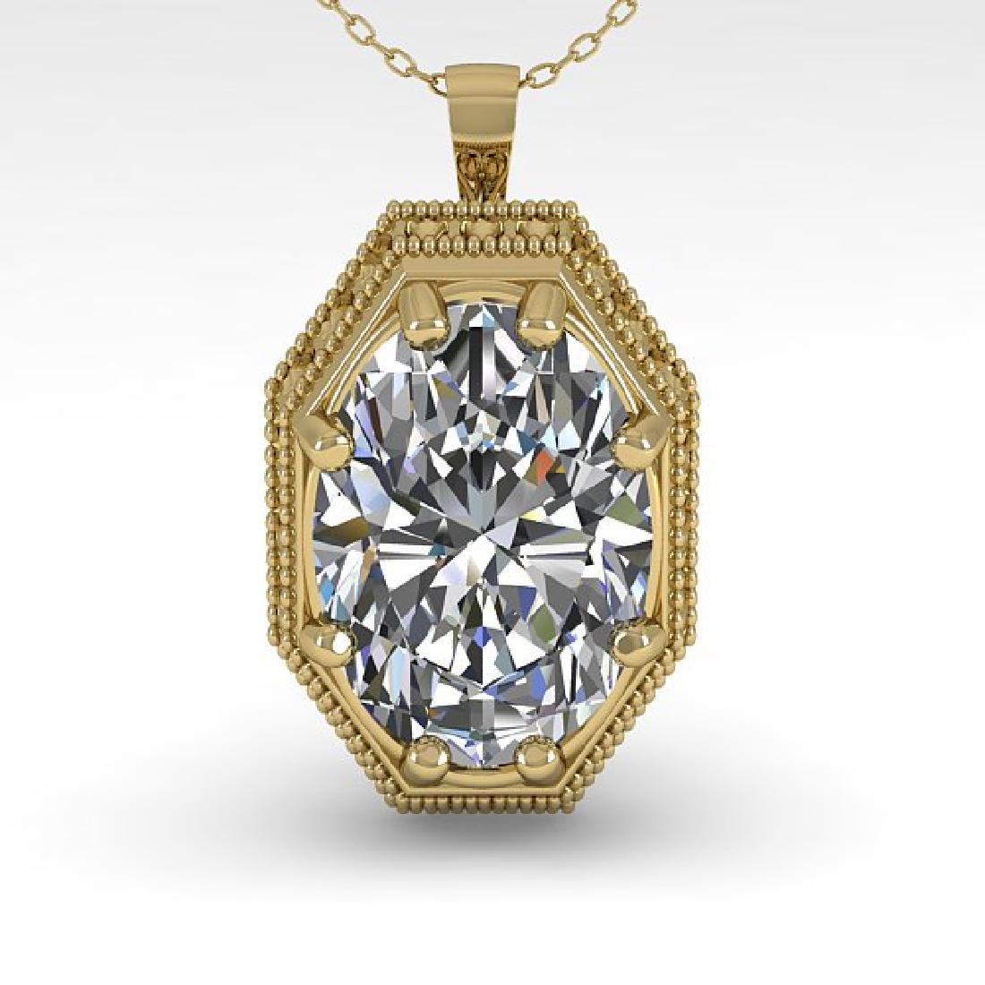1 CTW VS/SI Oval Cut Diamond Solitaire Necklace 14K - 2