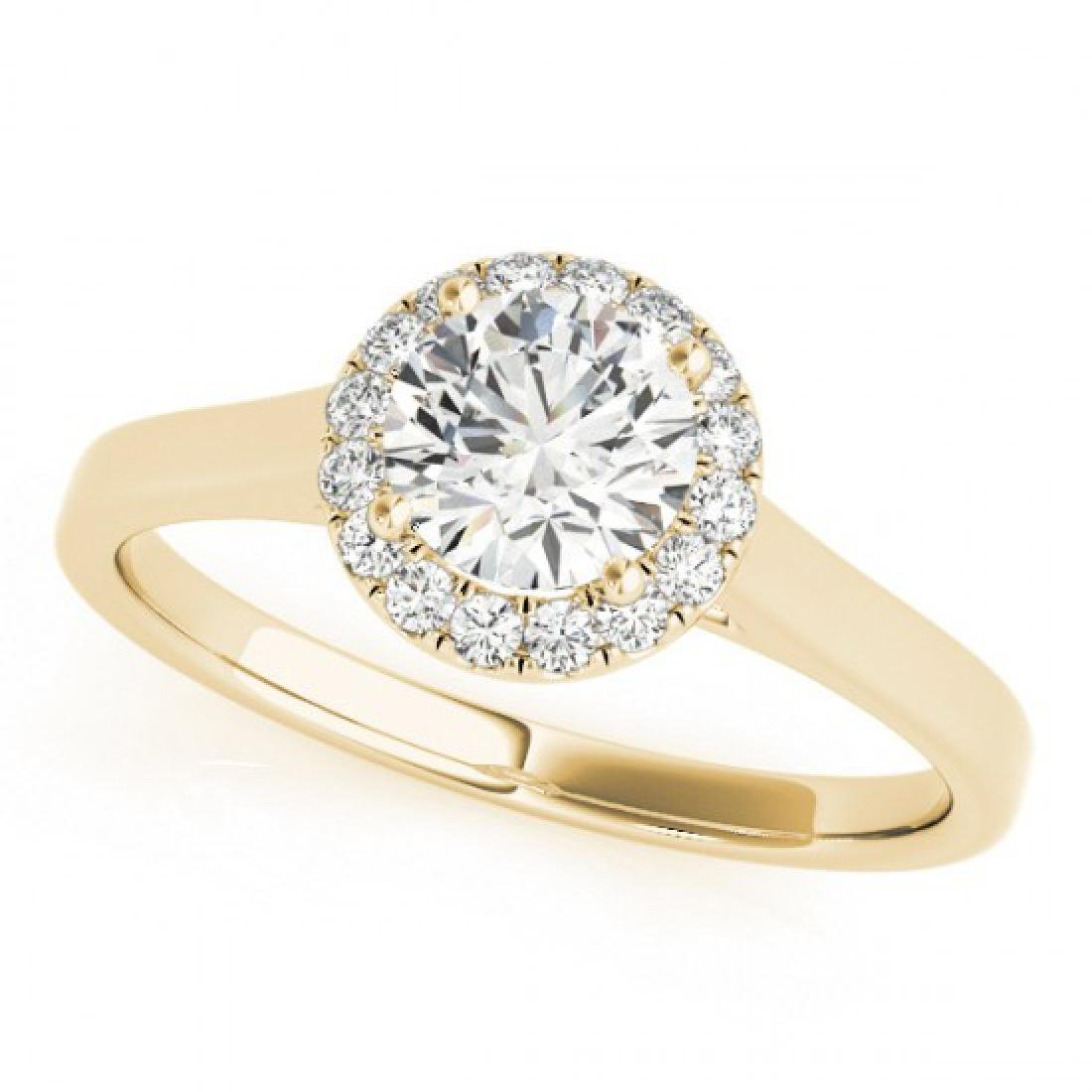 0.58 CTW Certified VS/SI Diamond Solitaire Halo Ring