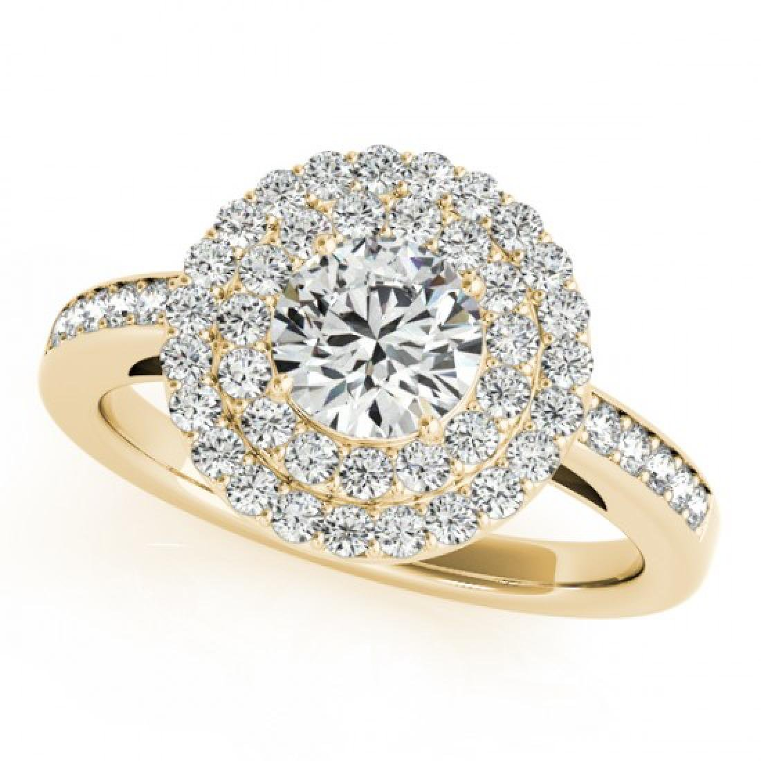 0.85 CTW Certified VS/SI Diamond Solitaire Halo Ring - 2