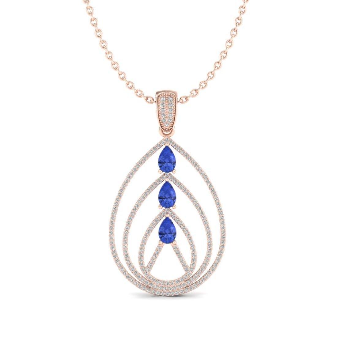 2 CTW Tanzanite & Micro VS/SI Diamond Designer Necklace - 2