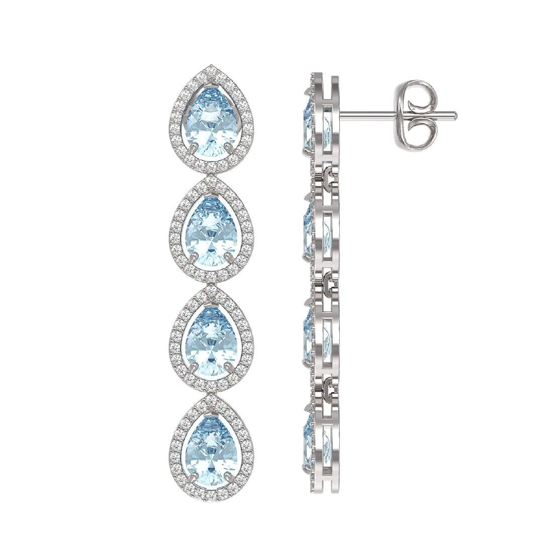 7.81 CTW Sky Topaz & Diamond Halo Earrings 10K White - 2