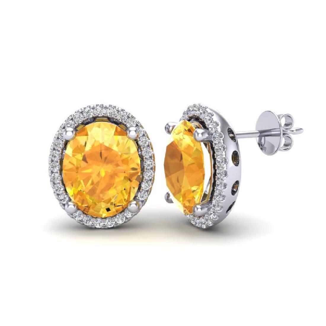 5 CTW Citrine & Micro Pave VS/SI Diamond Earrings Halo - 2