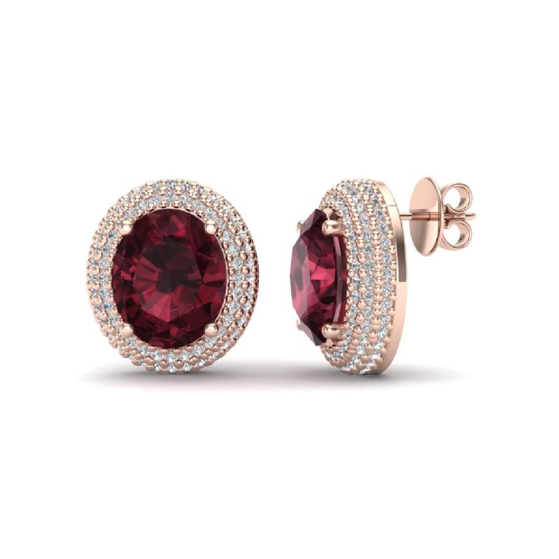 9 CTW Garnet & Micro Pave VS/SI Diamond Earrings 14K - 2