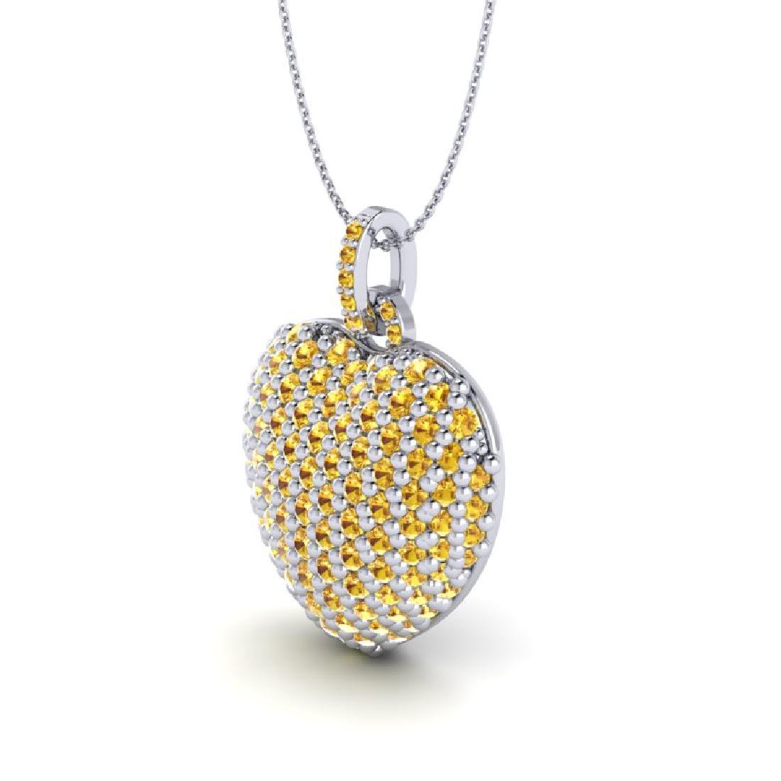 5 CTW Micro Pave Yellow Sapphire Designer Heart - 2