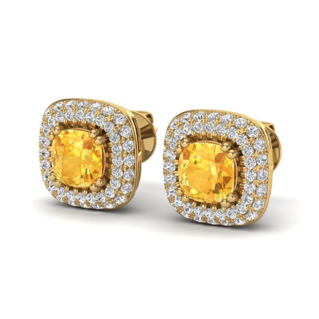 2.16 CTW Citrine & Micro VS/SI Diamond Earrings Halo