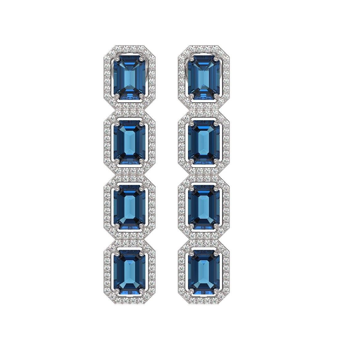 12.02 CTW London Topaz & Diamond Halo Earrings 10K