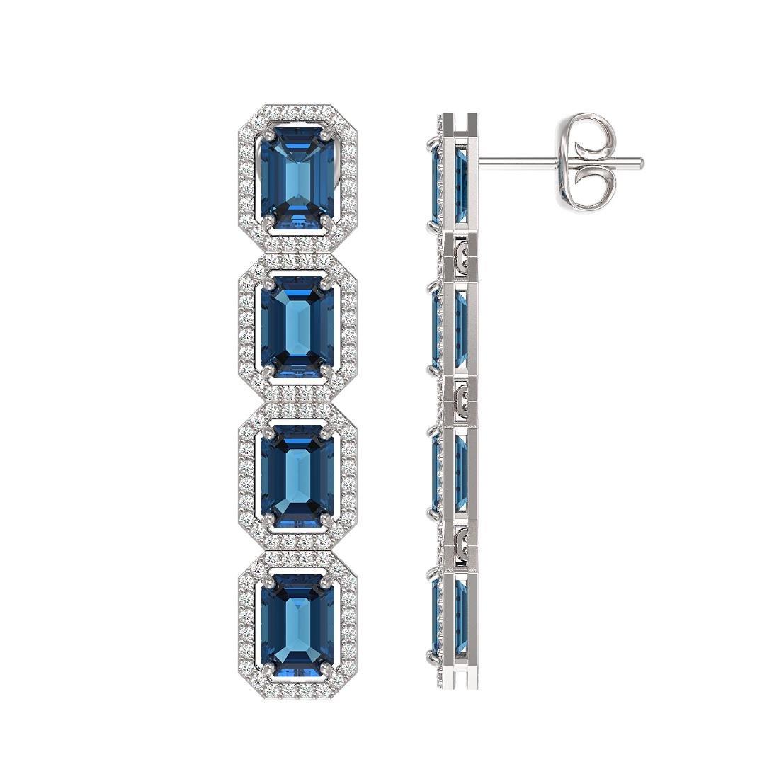 12.02 CTW London Topaz & Diamond Halo Earrings 10K - 2