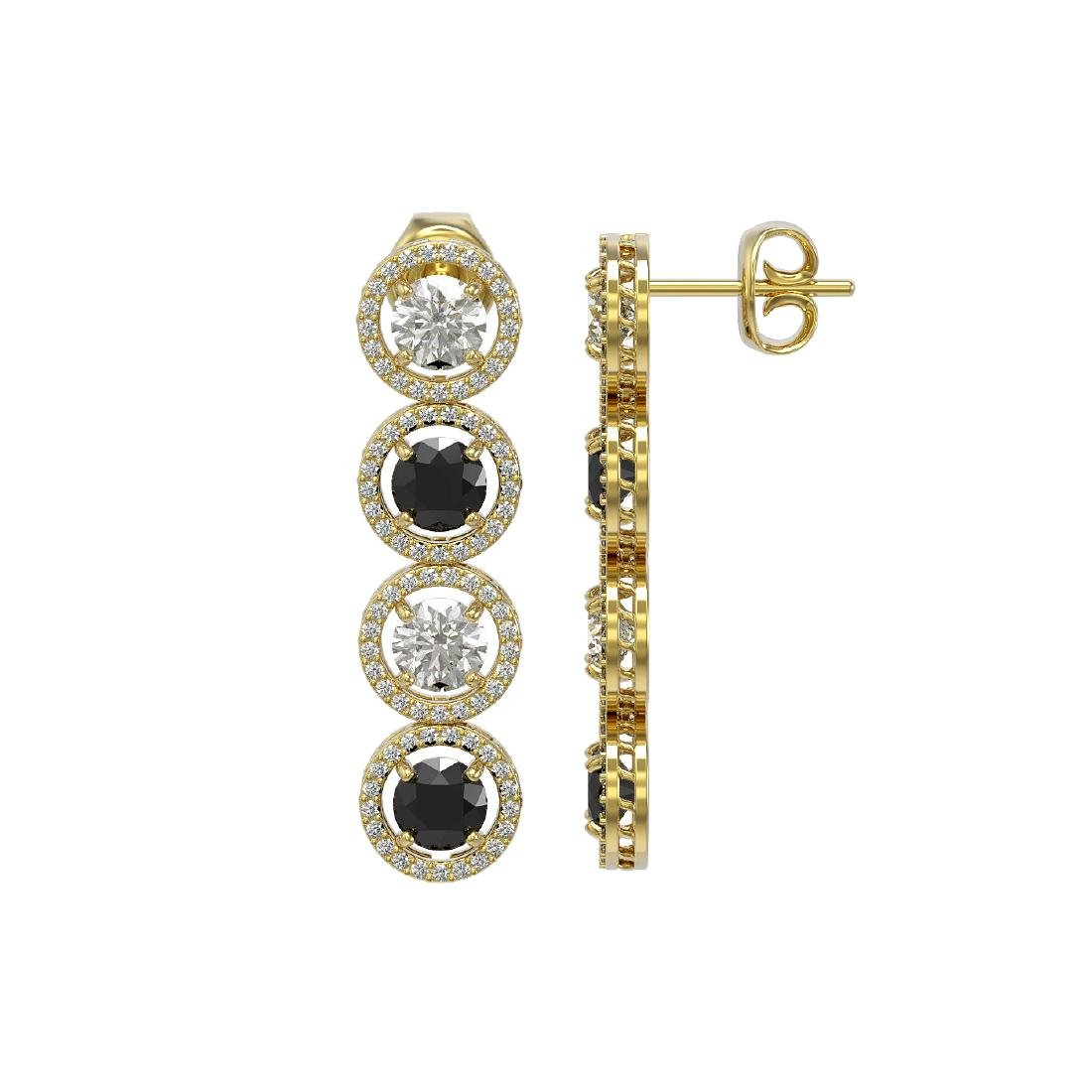 5.58 CTW Black & White Diamond Designer Earrings 18K - 2
