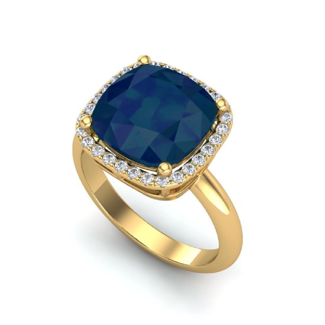 6 CTW Sapphire And Micro Pave Halo VS/SI Diamond Ring - 2