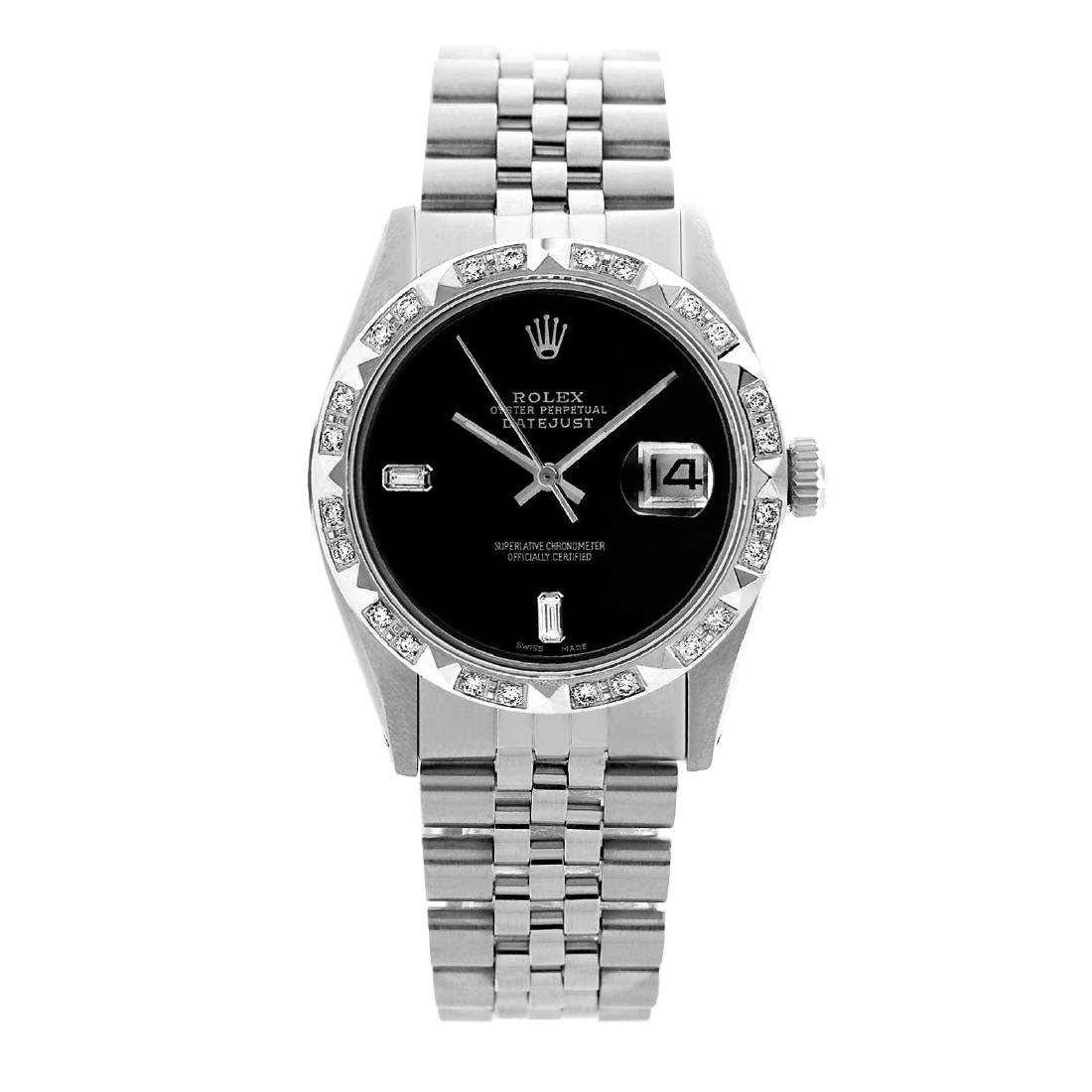 Rolex Men's Stainless Steel, QuickSet, Diam Dial with - 2