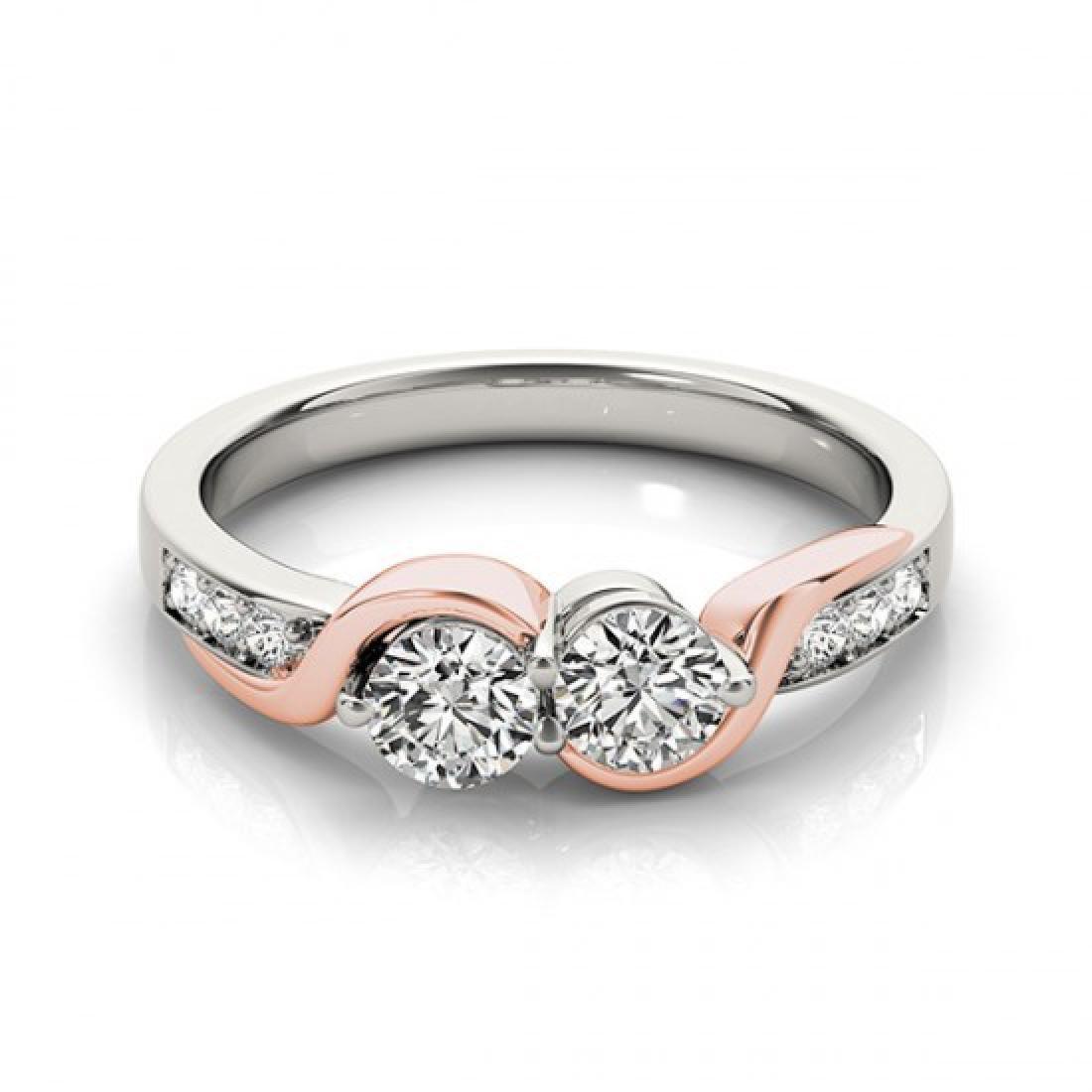 1.25 CTW Certified VS/SI Diamond 2 Stone Ring 14K White