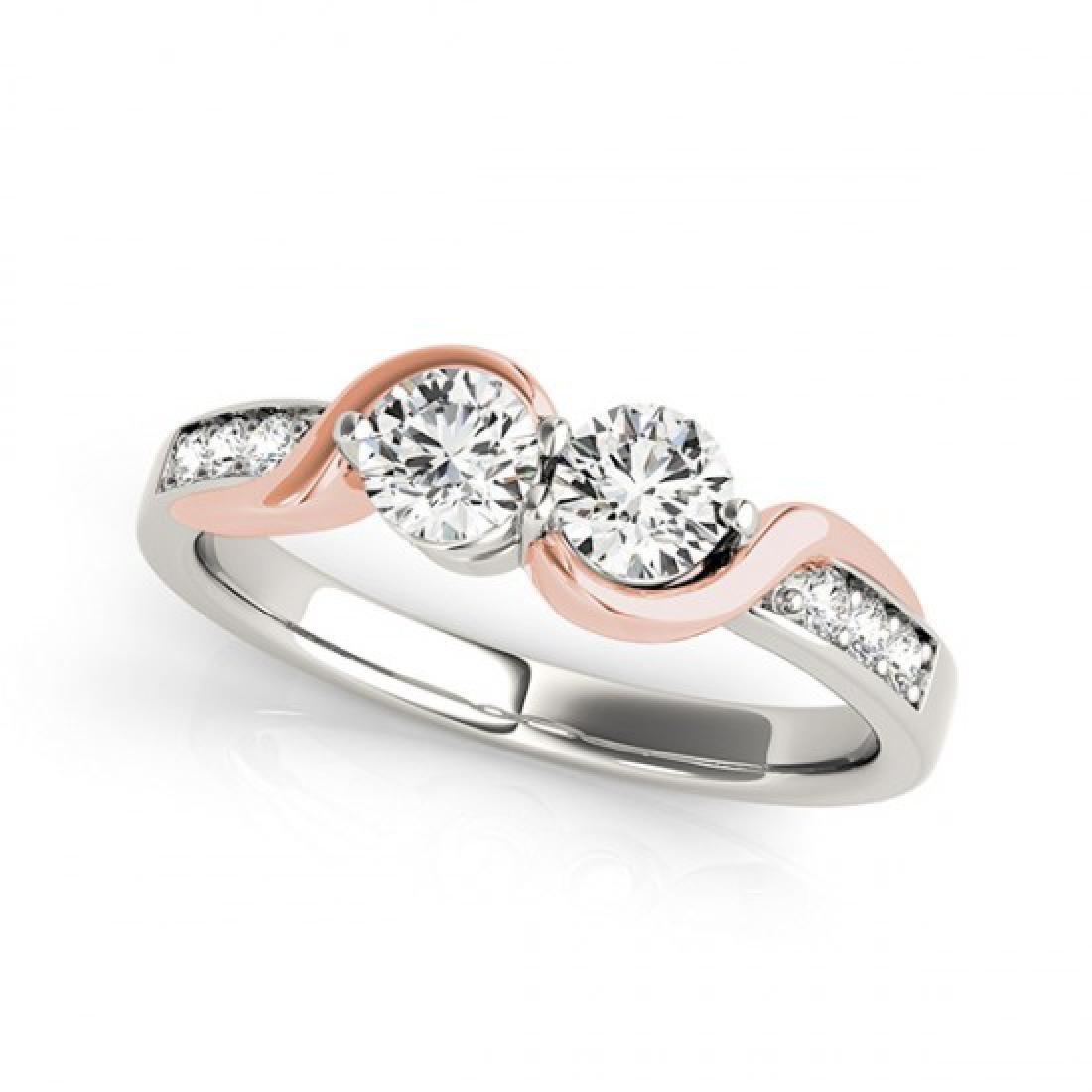 1.25 CTW Certified VS/SI Diamond 2 Stone Ring 14K White - 2