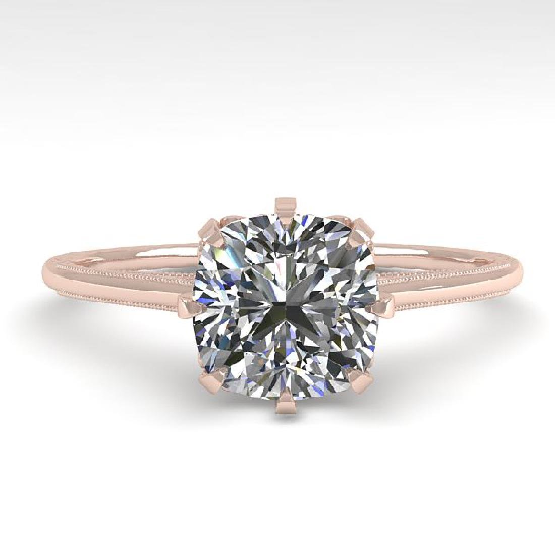 1.0 CTW Certified VS/SI Cushion Diamond Ring 14K Rose