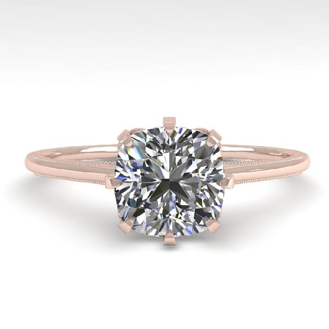 1.0 CTW Certified VS/SI Cushion Diamond Ring 14K Rose