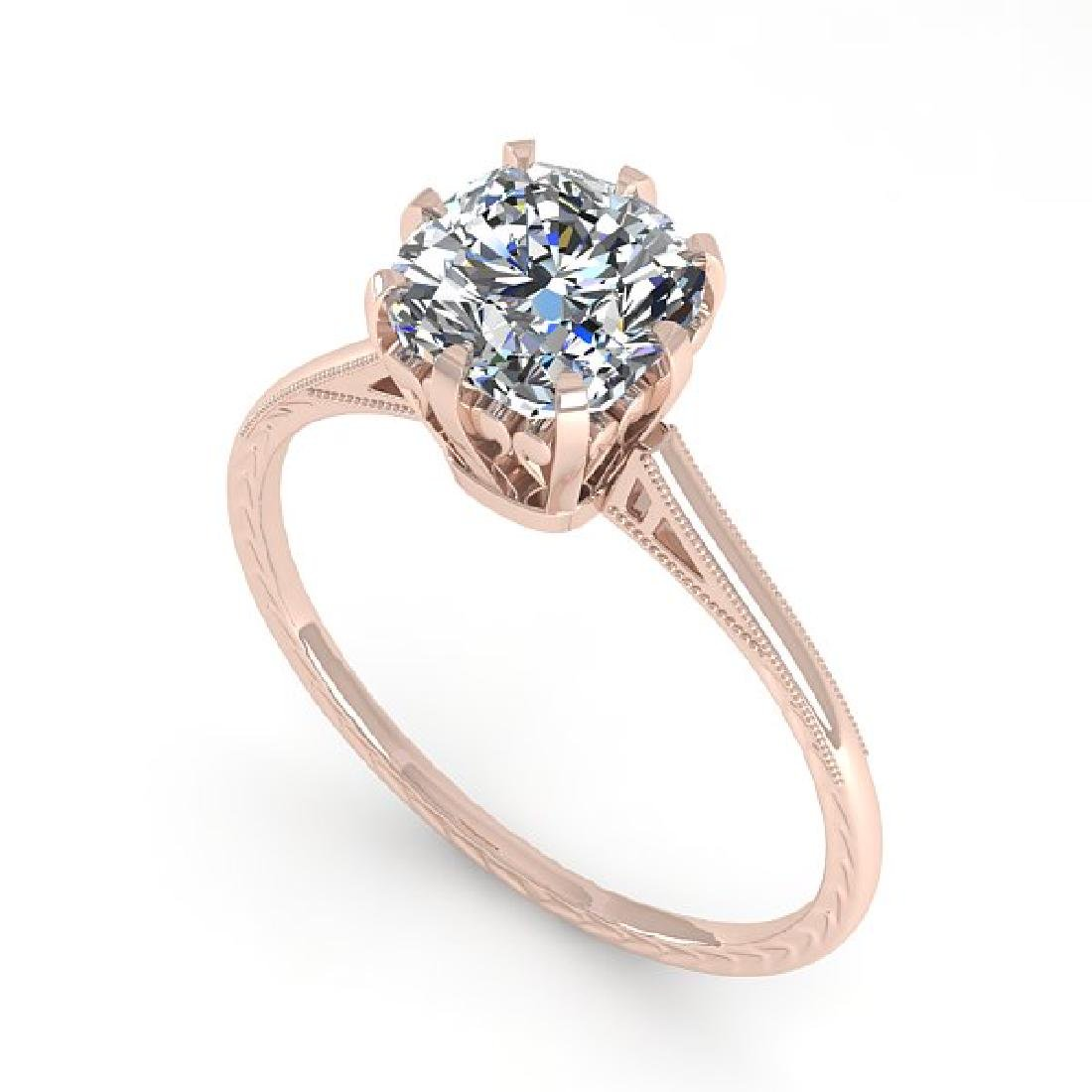 1.0 CTW Certified VS/SI Cushion Diamond Ring 14K Rose - 2
